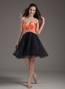 Sweetheart Mini-length Orange Red and Black Homecoming Dress in Appliques in Joplin