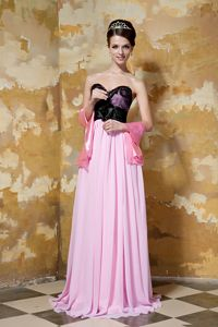 Sweetheart Pink and Black Chiffon Homecoming Dress with Hand Made Flower from Lansing