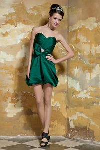 Dark Green Sweetheart Mini-length Taffeta Vintage Homecoming Dresses in Beading in Craig