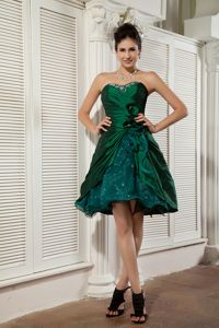 Sweetheart Taffeta and Organza Beaded Mini-length Homecoming Dress in Dark Green in Rolla