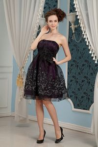 Embroidered Black Column Strapless Organza Homecoming Dress in Knee-length from Imperial