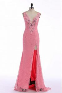 Custom Fit Rose Pink Column/Sheath Lace and Appliques Backless Organza Sleeveless