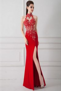 Sleeveless Floor Length Beading and Appliques Zipper Homecoming Gowns with Red