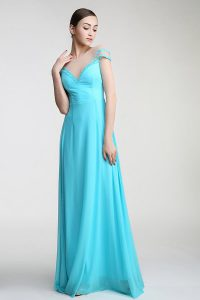 Scoop Aqua Blue Short Sleeves Chiffon Zipper Homecoming Dresses for Prom and Party