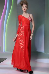 Free and Easy Coral Red Chiffon Side Zipper Asymmetric Long Sleeves Floor Length Prom Homecoming Dress Beading and Embroidery