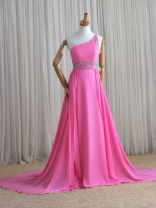 One Shoulder Rose Pink Junior Homecoming Dress Chiffon Brush Train Sleeveless Beading