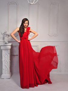 One Shoulder With Train Column/Sheath Sleeveless Red Homecoming Party Dress Court Train Lace Up