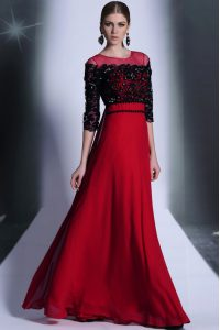 Beautiful Red And Black Scoop Clasp Handle Beading and Appliques Homecoming Dress Online 3 4 Length Sleeve