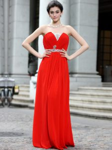Smart Coral Red Homecoming Dress Online Prom and Party with Beading Strapless Sleeveless Zipper
