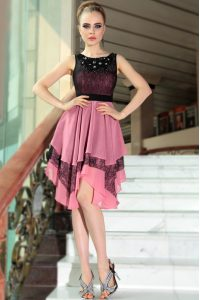 Colorful Scoop Sleeveless Side Zipper Homecoming Dress Online Pink And Black Chiffon