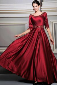 Red A-line Satin Bateau Half Sleeves Beading and Belt Zipper Homecoming Party Dress Brush Train