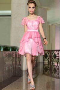 Rose Pink Cap Sleeves Mini Length Belt Side Zipper Homecoming Dress