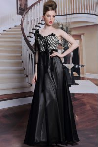 Black Chiffon Side Zipper Homecoming Gowns 3 4 Length Sleeve Floor Length Beading and Appliques and Hand Made Flower