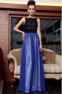 Discount Column/Sheath Homecoming Party Dress Blue And Black Square Chiffon Sleeveless Floor Length Side Zipper