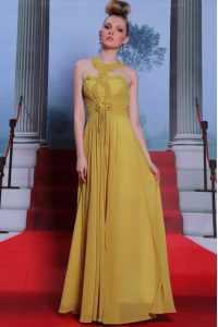 Scalloped Sleeveless Homecoming Dresses Floor Length Appliques and Ruching Gold Chiffon