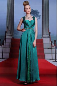 Peacock Green Sleeveless Ankle Length Beading and Lace Zipper Homecoming Dresses