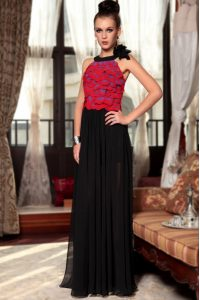 Discount Scoop Red And Black Sleeveless Chiffon Side Zipper Junior Homecoming Dress for Prom and Party