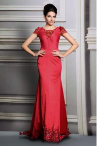 Dramatic Scoop Red Short Sleeves Satin Court Train Clasp Handle for Prom and Party