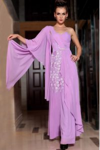 Sumptuous Lilac Square Side Zipper Beading and Ruching Homecoming Dress Online Half Sleeves