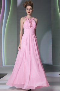 Rose Pink Side Zipper Halter Top Beading Homecoming Dresses Chiffon Sleeveless