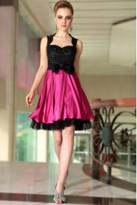 Nice Satin Straps Sleeveless Side Zipper Beading Hoco Dress in Pink And Black