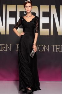 Scoop Half Sleeves Chiffon Floor Length Backless Junior Homecoming Dress in Black with Lace and Ruching