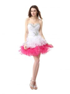 A-line Prom Homecoming Dress Pink And White Sweetheart Organza Sleeveless Knee Length Lace Up