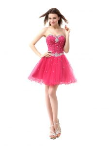 Coral Red Homecoming Party Dress Prom and Party with Beading Sweetheart Sleeveless Lace Up