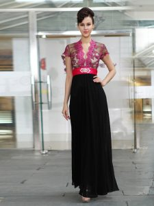 Ankle Length Column/Sheath Short Sleeves Red And Black Prom Homecoming Dress Zipper