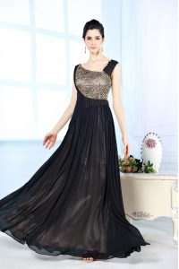 Modern Sleeveless Floor Length Beading Side Zipper Homecoming Dress with Black