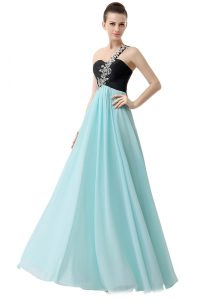 High Class Blue And Black Chiffon Zipper One Shoulder Sleeveless Floor Length Junior Homecoming Dress Beading and Ruffles