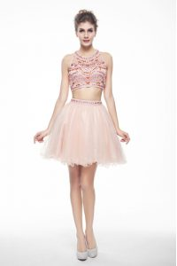 Peach Chiffon Backless Scoop Sleeveless Knee Length Beading