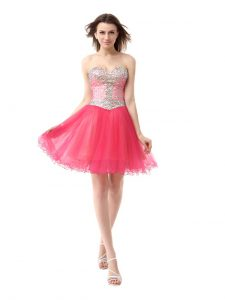 Coral Red Sleeveless Knee Length Beading Zipper Homecoming Dress