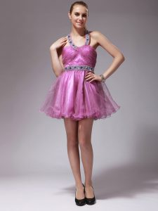 Halter Top Mini Length Rose Pink Homecoming Party Dress Organza Sleeveless Beading
