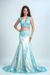 Blue And White Mermaid Beading and Pattern Prom Homecoming Dress Zipper Chiffon Sleeveless With Train
