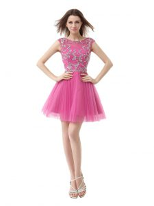 Glorious Rose Pink Scoop Zipper Beading and Sequins and Pleated Homecoming Dress Cap Sleeves