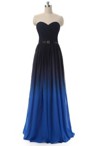 Trendy Blue And Black Lace Up Prom Homecoming Dress Ruching and Belt Sleeveless Floor Length
