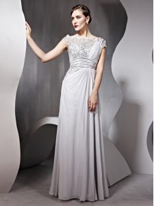 Chic Floor Length Silver Homecoming Dresses Bateau Cap Sleeves Side Zipper