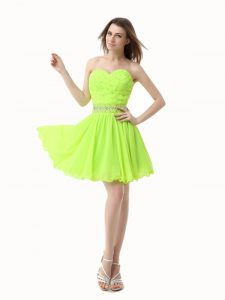 Knee Length Zipper Homecoming Party Dress Green for Prom and Party with Beading
