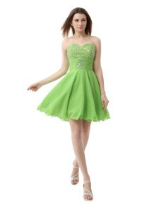 Sumptuous Organza Sleeveless Knee Length Hoco Dress and Beading