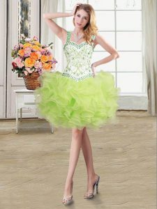 Trendy Straps Yellow Green Organza Lace Up Homecoming Dress Online Sleeveless Floor Length Beading and Ruffles
