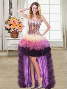 Sleeveless Organza High Low Lace Up Homecoming Gowns in Multi-color with Beading and Ruffles