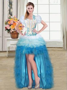 Nice Sweetheart Sleeveless Organza Hoco Dress Beading and Appliques and Ruffles Lace Up