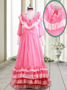 Fantastic Pink Zipper Homecoming Gowns Beading and Lace and Ruffled Layers Long Sleeves Brush Train