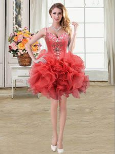 Noble Straps Mini Length Ball Gowns Sleeveless Coral Red Homecoming Gowns Lace Up