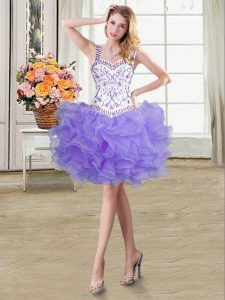 Excellent Lavender Straps Neckline Beading and Ruffles Homecoming Dresses Sleeveless Lace Up