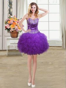 Best Selling Eggplant Purple Tulle Lace Up Sweetheart Sleeveless Mini Length Homecoming Dress Beading and Ruffles
