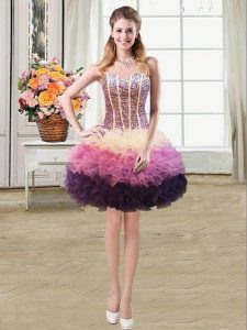 Multi-color Mermaid Organza Sweetheart Sleeveless Beading and Ruffles Mini Length Lace Up Homecoming Dress