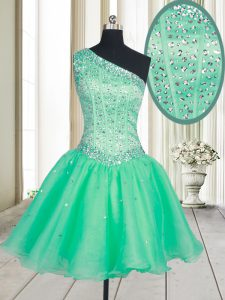 Cute One Shoulder Beading Junior Homecoming Dress Turquoise Lace Up Sleeveless Mini Length