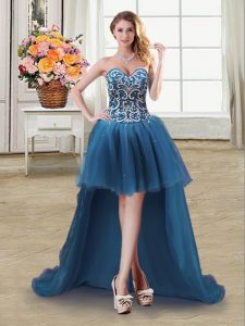 High Quality Teal Ball Gowns Sweetheart Sleeveless Tulle High Low Lace Up Beading and Sequins Homecoming Dress